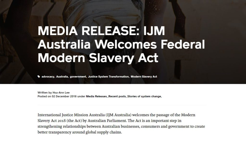 MEDIA RELEASE: IJM Australia Welcomes Federal Modern Slavery Act